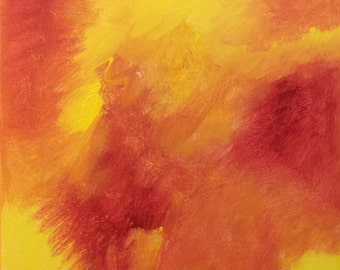 """Red, Orange, Yellow, Abstract Painting, Abstract Art, 12"""" x 12"""" Modern Art, Contemporary Art, JCW 12 x 12 Day 17, home decor"""