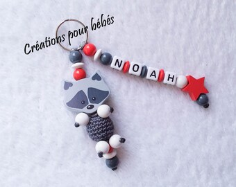 "Keychain 3D ""Raccoon raccoon"" with wooden beads with the name of your choice"