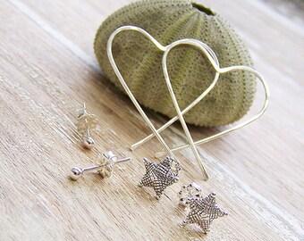Silver Earring Set, 3 Pair Set, Hoop Earrings, Starfish Earrings, Ball Earrings, Stud Earrings