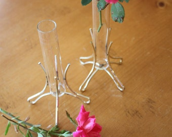 Vintage Brass and Glass Tube Vase Set Of Two
