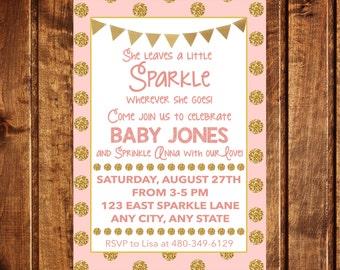 Pink & Gold Sparkle Baby Shower Invitation - Sparkle Baby Shower Invitation - PRINTABLE - She leaves a Sparkle wherever she goes Invitation