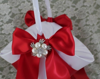 """Larger Basket-White or Ivory Satin Flower Girl Basket  RED Satin Ribbon and 2"""" Rhinestone Accent-Custom Colors"""