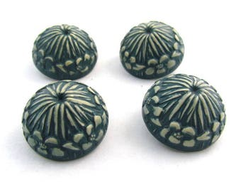 Set of Four Vintage Celluloid Shank Buttons Domed Teal