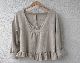 loose linen top ruffle linen shirt linen blouse long sleeve ruffle linen jacket made to order