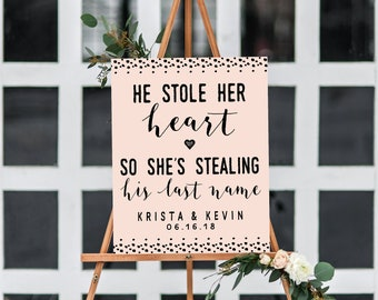 He Stole Her Heart, So She's Stealing His Last Name Custom Printable. Engagement Party Decorations. Bridal Shower Decorations. Digital Only