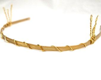 Flat Golden Headband with tiara combs - costume- aluminum