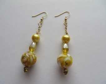 Handcrafted Gold Tone with Assorted Beads Earrings