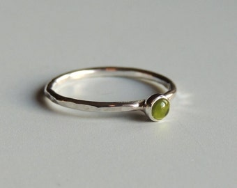 Peridot Ring Sterling Silver Stacking Ring Green Ring