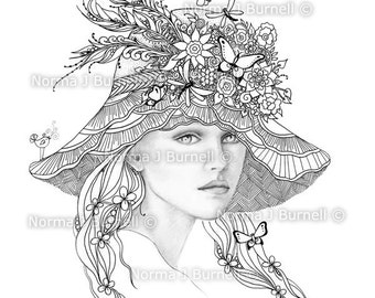 A Fairies Hat Fairy Tangles Printable Coloring Sheets for Adults by Norma J Burnell Digital Coloring book Pages Grayscale Images to Color