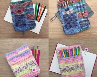 Crochet Pattern PDF Only - A5 planner pouch / journal case / notebook sleeve with pen pocket - Full pattern digital download