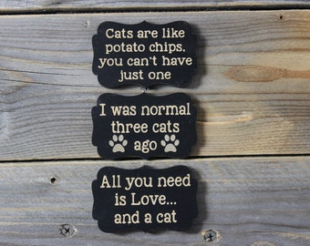 magnet,set of three,magnets,cat, cat lover, cat lady,magnet set,funny,humor,fridge,refrigerator,cute,silly,gift