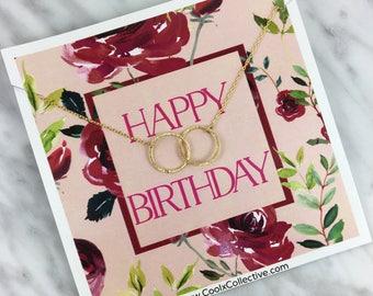 Happy birthday gift, birthday jewelry, birthday necklace, linked circle necklace, minimalist necklace, friendship gift