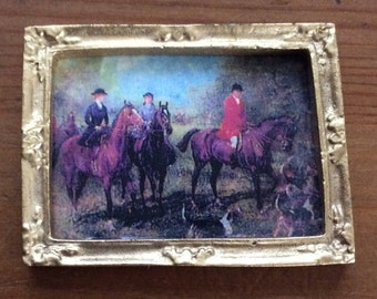 Vintage Victorian Hunting Painting, Victorian Era Painting, Collectible Miniature Painting, reproduced/reprint