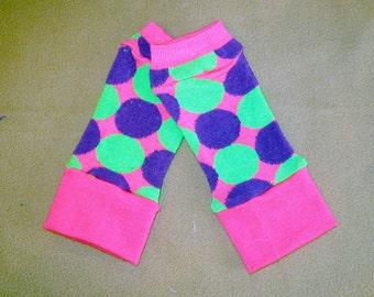 Leg warmer, PREMMIE, Infant, Newborn - green n purple balls  - infant leg warmer, newborn leg warmer, baby girl leg warmer, baby leg warmer