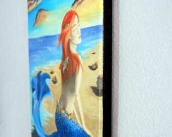 Mermaid Art Beach Art Mermaid Canvas Print Giclee 10x13 Wall Art Siren of the Sea