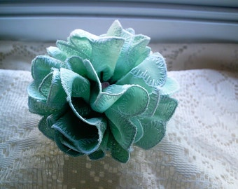 Rosette Flower Pin Brooch Embroidered Heart Lace