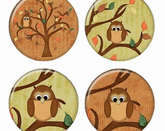 Fall Owls Magnets or Pinback Buttons or Flatback Medallions Set of 4