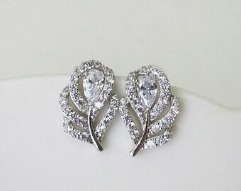 Bridal Earrings Studs Sterling Silver Earrings Petite Cubic zirconia leaf Wedding Jewelry CZ simulated diamond small minimal size teardrop