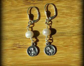 Pearl Dangle Earrings, St. Gerard, Patron Saint of Fertility