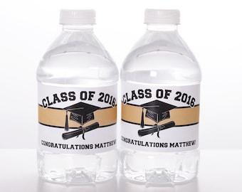 25 Graduation Water Bottle Labels - Waterproof Self Stick Labels - Graduation Party Favor