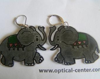 elephants shrink plastic earrings