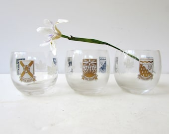 Mid Century Barware - 3 Canadain Design Roly Poly Glasses - Gold - White - British Columbia - N.W. Territory- Yukon - Prince Edward Island