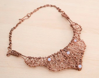 Statement necklace,copper wire necklace,woven copper necklace,antique copper bib necklace