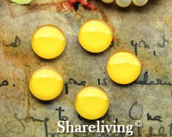 12mm Glass Dome, 8mm 10mm 14mm 16mm 20mm 25mm 30mm Round Yellow glass Cabochon - BCH244C