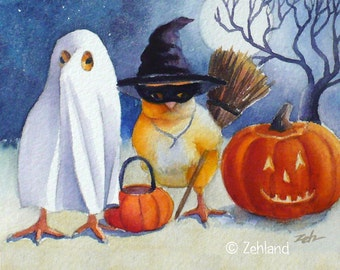 Halloween Print Baby Chicks Witch Ghost 8x10 Printed Fine Art for Walls by Janet Zeh Zehland