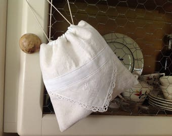 Made from old linen, embroidery and hand made lace pouch