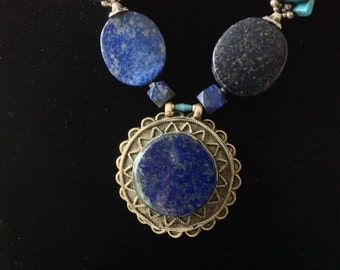 Ethnic Turkmen Tribal Necklace. Afghan Lapis, Turquoise. Afghan Lapis pendant Glit German Silver. Hippy Gypsy bedouin Nomads necklace.HW71