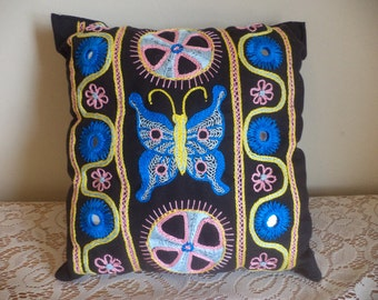 Butterfly and Catherine Wheel, Pink, Blue and Yellow, Hand Embroidered Pillow, Shisha Mirrors, Pink Daisy, Hand Made, Insects, Flowers