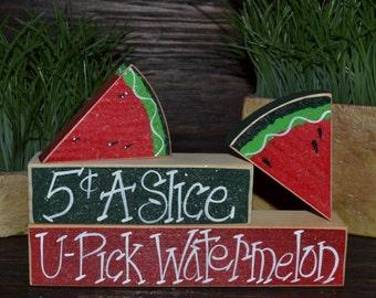 U-Pick Watermelon Wood Block Set, Summer Decoration, Watermelon Decor, Summer Picnic, Primitive Seasonal Gift, Seasonal Home Decor