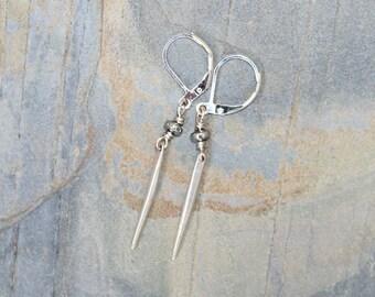 Spike Earrings, Plated Silver Earrings, Spike Jewelry, Geometric Earrings, Dangly Earrings, Long Earrings, Modern Earrings, Punk Earrings