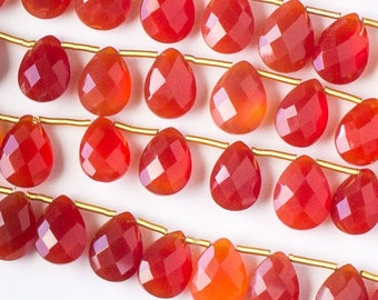 Carnelian Faceted Hand Cut Gemstone Briolette Beads - Size 7x10mm - Natural Grade A - Top Drilled Horizontal - 02 pieces per order