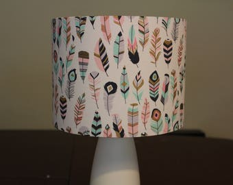 Feather Boho Chic Lamp Shade - Girls Bedroom Decor - Bedside Table Lamp - Lamp Shade Only