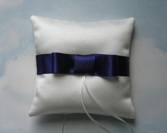 Wedding ring cushion. Satin bow ring pillow for weddings.