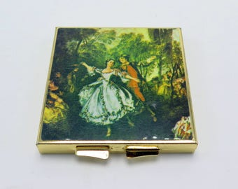 """Vintage Refillable Compact Featuring """"La Camargo Dancing"""" Painting"""