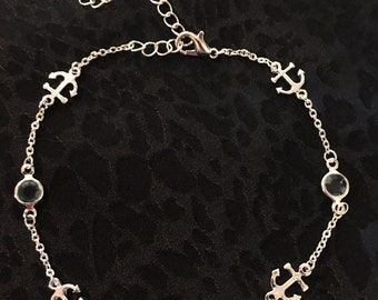 Sterling Silver Anchor Anklet With Light Blue Sea Glass
