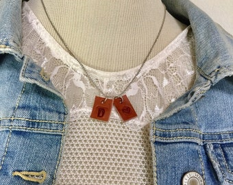 """1 - Tiny Initial Necklace, Leather Charm Necklace, Optional ADD On Designs - Mix & Match, Hearts - From """"SCRAPS 2 TREASURE"""""""