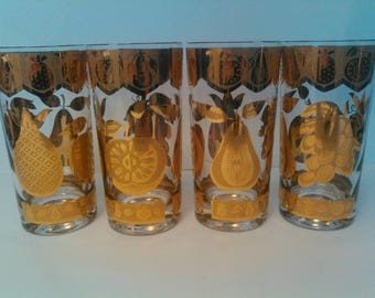 4 Culver highball glasses with gold fruits