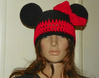 Minnie Mouse Hat  Choose form  Red Bow and Trim Sizes 0-3M-Adult Large