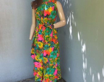 Vintage 60s/70s Jenelle of California, Hawaiian Jumpsuit, Floral Hawaiian Print PALAZZO Pants Jumpsuit, Resort Wear, Wide Leg