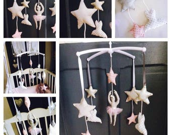 Mobile music theme dancers and stars in shades of soft pink grey and white