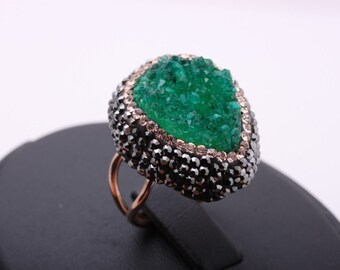 Exquisite! Turkish Handmade Jewelry / Green Druzy Stones / Swarovski Crystals / Marcasite 925 Sterling Silver Ring Size 5 6 7 8