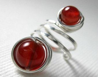 Ear Cuff Sterling Silver and Blood Red Carnelian Wire Wrapped -- Shepherd Moon -- Blood Moon