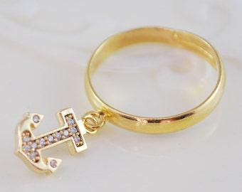 Anchor Ring, Gold Plated Brass, Cubic Zirconia Charm, Adjustable Size, Nautical Jewelry