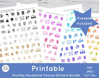 Printable Monthly Household Chores Stickers - Bundle. Functional stickers. PDF, JPEG, and CUT files included.
