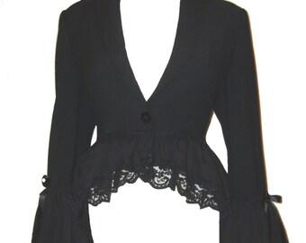 GOTHIC BUSTLE COAT, uk 12, victorian coat, steampunk corset coat, gothic jacket, tiered bustle coat, victorian jacket, steampunk jacket,