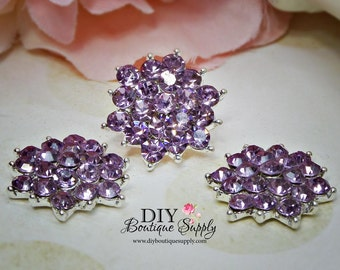 Lavender Crystal Button Flat Back Embellishment Metal Rhinestone Flatbacks - Headband Supplies - flower centers Scrapbooking 21mm 581038
